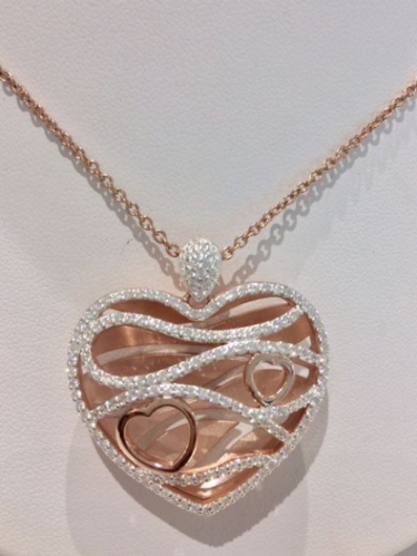Rose Gold Plated Sterling Silver Heart Necklace SB1
